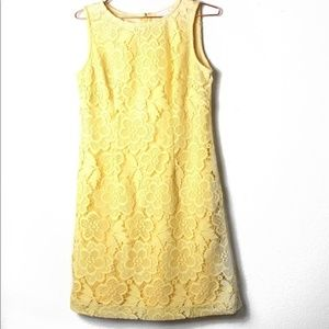 EUC NY&CO Yellow Lace Shift Dress Small